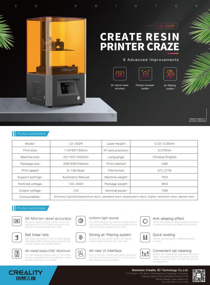 ld 002r lcd resin 3d printer creality official ld 002r lcd 3d printer 1